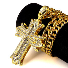 Wholesale Gold Silver Stainless Steel Cross - 90CM LONG CHAIN Rock Hip Hop NECKLACE Cross Pendant Mens Jewellery Gold Silver Plated Hiphop Necklaces