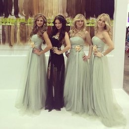 Wholesale Hot Pink Strapless Bridesmaid Dresses - Hot 2017 Sage Green Simple Bridesmaid Dresses A Line Elegant Strapless Backless Tulle Long Maid of Honor Wedding Guest Evening Dresses Cheap