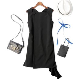 Wholesale Mini Silk Vest - Summer New Women Fashion Asymmetrical Sweep Sleeveless Vest Dress European Stylish Ladies Brief Black Dress Quality Formal Dress A14