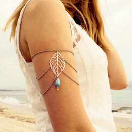 Wholesale Slave Girl - Wholesale- Pameng Leaves Charm Arm Slave Harness Chain Upper Cuff Armband Armlet Bracelet Lady Girl Beach Party For Women