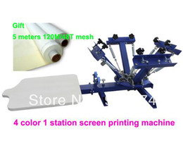 Wholesale Tshirt Pressing Machine - Discount with GIFT 4-1 color silk screen printing machine tshirt printer press equipment carousel 48T mesh Fast Free Shipping