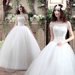 Wholesale Up Skirt Woman - Pretty New Bride Sexy Portrait White Wedding Dresses Lace-Up Floor-length Women Married Crystal A-Line Dresses Tiered Skirts Chapel Wedding