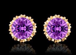 Wholesale Men Gold Ear Rings - Fashion Crown Wedding Stud Earring 925 Silver CZ Diamond Charm Jewelry men women Crystal Ear Rings festive gift drop shipping