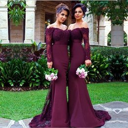 Wholesale Wine Wedding Sashes - Wine Red Off the Shoulder Chiffon With Lace Beads Bridesmaid Dresses Long Sleeves Vestido Longos Para Festa Wedding Party Dresses