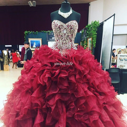 Wholesale Olive Crystal - Crystal Beaded Sweetheart Bodice Corset Organza Ruffles Ball Gowns Quinceanera Dresses 2017 Burgundy Vestidos De 15 Anos Sweet 16 Prom Gowns