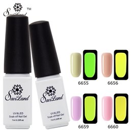 Wholesale Uv Glow Nail Polish - Wholesale- Saviland 1pcs Soak Off UV Gel Varnish Fluorescent Neon Luminous Gel Nail Polish Glow in Dark Esmalte Nail Gel Lacquer
