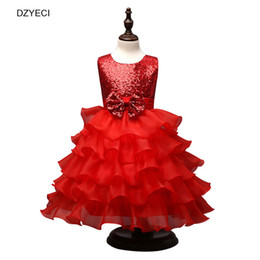Wholesale Tulle Mid Wedding Dress - New Sequins Bow Ball Gown Dress For Teenage Girl Lace TUTU Dresses Fashion Children Sleeveless Tiered Tulle Wedding Evening Costume Clothes