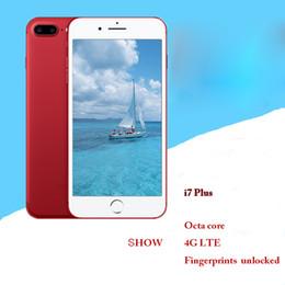Wholesale Dual Camera 2g - Smart hot new goophone i7 plus 2G red special custom version of waterproof intelligent fingerprint unlock mobile phone HD display