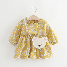 Wholesale Korea Girls Style - Lovely Girls Cotton Flower Dresses 2017 Fall Kids Boutique Clothing Korea Children Apparel 1-4T Little Girls Dresses with Bear Bag