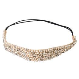 Venda quente 1 pcs Moda Hairband Strass Beads e Lace Alta Qualidade Elastic Headband Acessórios Para o Cabelo Para As Mulheres de