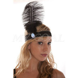 Wholesale Ostrich Feather Headbands - Free Shipping Factory sell LADIES WHITE SEQUIN FEATHER HEADBAND ROARING 20'S CHARLESTON FLAPPER OSTRICH FEATHER HAIR ORNAMENTS