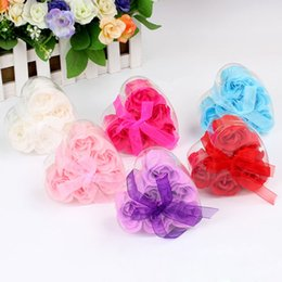 Wholesale Shaped Scented Soap - Colorful Heart-Shaped Scented Bath Body Rose Soap Flower Romantic Wedding Party Gift Handmake Flower Petals Decor Gift ZA1718