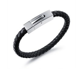 Wholesale Mens Braided Steel Jewelry - Free Shipping 10pcs lot hot sale Fashion Wholesale Jewelry Stainless Steel Braided Bracelets Magnetic Buckle Mens Genuine Leather
