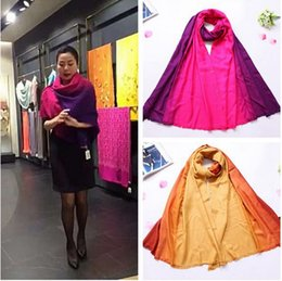 Wholesale Beautiful Shawls - Fall winter beautiful lady and woman gradient color change soft acrylic shawl scarf pashmina wraps amice cape with button and merrow edge