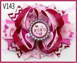 Wholesale Boutique Bows - free shipping 2017 newest 30pcs Valentine's day hair bows-B Girl boutique bows Valentine hair clips heart ribbon hair clippie