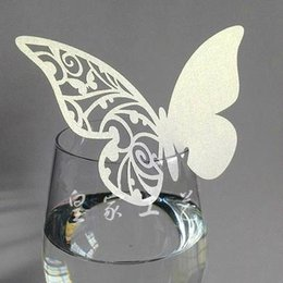 Wholesale Wedding Place Card Cut Out - 50 Pcs Multi-Usage Butterfly Cut-out Place Escort Wedding Party Wine Glass Paper Cards LY345