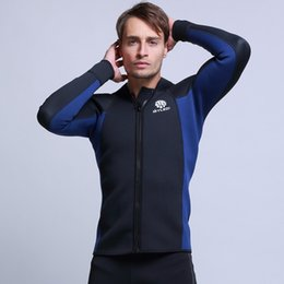 d82bd0ae38 Dropshipping New 3mm Neoprene Diving Jacket Wetsuit Tops Thermal Blue Black  Surfing Scuba Dive Snorkling Coldproof Front Zip