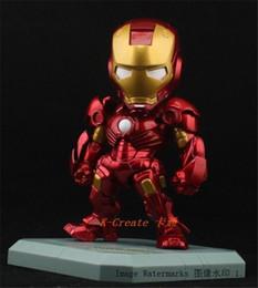 Wholesale Iron Man Cute Model - POPOToyFirm Wholesale 10cm The Avengers Cute Nendoroid Q Iron Man Mark 7 Tony Stark Set PVC Action Figure Collection Model Toy