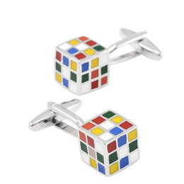 Wholesale Nickel Plating Brass - 2017 Mens Novelty 3D Rubik Cube Cufflinks Iq Test Cuff Links For Groom Men Shirt Buttons