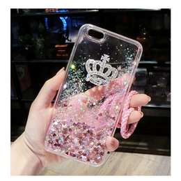 Wholesale Pink Rhinestone Note Cases - For Samsung galaxy s6 s7 s8 edge plus note 3 4 5 Luxury Diamond Crown liquid glitter phone back case strap