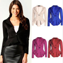 Wholesale Small Coat Hooks - woman business suit coat 5colors Women's Suits & Blazers A small butt-down jacket with an irregular small suit free shipping