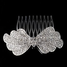 Wholesale Tiaras Hair Pins - New Elegant Luxurious Wedding Bride Tiara Sparkling Silver Plated Crystal Bridal Hair Combs Hair Pin Jewelry Accessories