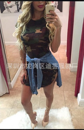 Wholesale Tight Hem Dress - Camouflage is tight dress Irregular round collar hem cotton frock Sexy nightclub ultra short A-rope underdress