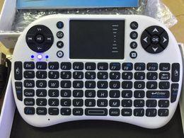 Wholesale Ipad Mini Keyboard Russian - Hebrew Arabic English Russian Spanish Italian i8 Mini Wireless Bluetooth Keyboard Touch Pad Air Mouse for PC Laptop iPad Android TV Box