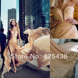 Wholesale Rubik Silver - 2017 New Arrival Anja Rubik Prom Gowns V Neck Chiffon Ruffled High Side Slit Sexy Girls Evening Dresses