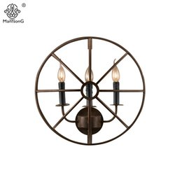 Wholesale Iron Candle Wall - Industrial Vintage Wall Loft Lamp Candle Iron E14 AC Creative Lights For Bar Cafe Office Restaurant Decoration Interior Lighting