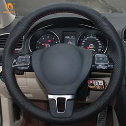 Vw gol on-line-Mewant preto volante de volante de carro de couro artificial de volkswagen vw Gol Tiguan Passat B7 Passat CC Touran Jetta Mk6