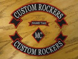 2019 clubes de couro Custom Bordados Rockers Ribbon, Nome MC Set Patch Vest Outlaw Biker MC Club Sew On Jacket de volta ou casaco de couro clubes de couro barato