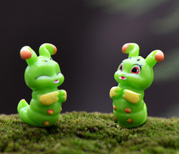Wholesale Fake Pot Plants - 20sets shipping free tiny animal green worm garden fairy miniature kawaii caterpillar palmerworm potted plants decoration micro landscape