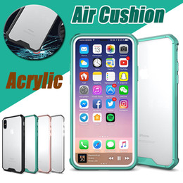 Wholesale plastic cushion covers - Air Cushion Acrylic Clear Soft TPU Frame Back Shockproof Armor Protective Case Cover For iPhone X 8 7 Plus 6 6S Samsung Galaxy S9 S8 Note 8