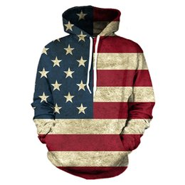 Wholesale Hoodies Fashion Star - Wholesale-Old Glory Hoodie North America Style 3D Hooded Men Women Hoodies Sweatshirts USA Flag Stars & Stripes Print Tracksuit Hoody Tops