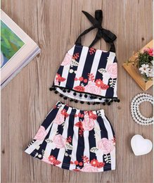Wholesale Summer Baby Skirt Top - 2017 Summer New Baby Girl Sets Floral Stripe Pompom TOP+Skirt Outfits Toddler Clothing 0-2T 170035 Not Have Headband