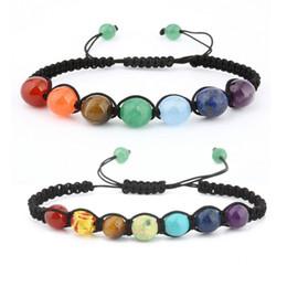 Wholesale Energy Stones Rocks - Handmade Womens Mens Beaded Bracelets Stone Lava Rock Healing Balance Round Braided Rope Energy Bracelets B125S