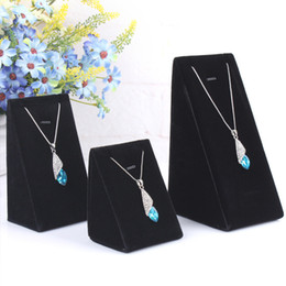 Wholesale Necklace Stand Black Set - Fashion Black 1 Set 3 Sizes S M L Necklace Jewelry Store Display Charm Jewelry Dox Drop Pendant Chains Holder