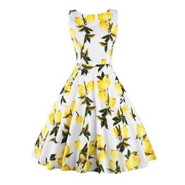 Wholesale Hot Night Club Clothes - Lemon Printed Cllub Party Dresses Crew Neck Sleeveless Short Cocktail Dresses Leisure Daily Women Clothing 2017 Hot Sale