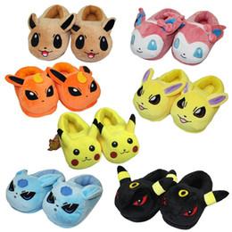 Schuhe plüsch spielzeug pantoffel online-Karikaturplüschtiere Pikachu Eevee Plüschschuhe Nette flaumige Innenhefterzufuhren weiche angefüllte Winterplüsch adut Pantoffelschuhe