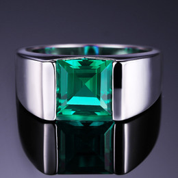 Wholesale Russian Silver Jewelry - Nano Russian Green Created Emerald Ring For Men Solid 925 Sterling Sliver Jewelry Engagement Wedding Ring For Men