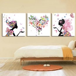 Wholesale Painted Pictures Canvas - Paintings Frameless Dancing Girl Oil Painting Butterfly Wall Poster Canvas Art HD Modular Picture Home Decor design