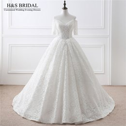 Wholesale Cheap Turkeys - V-neck Off Shoulder Lace Wedding Dress vestido de noiva Short Sleeve Bridal wedding gown Lace Up cheap wedding dresses turkey