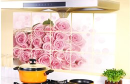 Wholesale Small Decorative Flower Stickers - Cartoon Kitchen oil paste romantic rose flowers home decorative oilproof wall stickers art decals mural women loves
