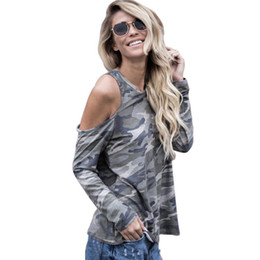 women off shoulder tee Coupons - Wholesale- T Shirt Feminina 2017 Camisetas Mujer Sexy Women Off Shoulder Camouflage Army Long Sleeve Tops T-Shirt Summer Casual Womens Tee