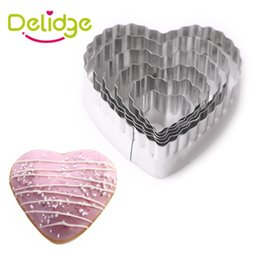 Love cookie cutters en Ligne-Delidge 6 pcs / Love Cookies Moule Coeur Forme Cookie Cutter En Acier Inoxydable Gâteau Décoration Pâte Biscuit Moule Fondant Cuisson Ensemble