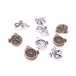 Wholesale Metal Gear Watch - Sweet Bell Min order 30pcs 18*20mm Vintage Metal Steampunk Watches Clock Gears Charms two color Zinc Alloy Small Watches Clock Charms D1213