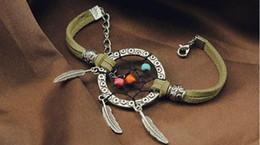 Wholesale Dreamcatcher Dress - Free shipping handmade Fashion Charms Leather Bracelets beads dreamcatcher Bangles Bracelets party dress jewelry