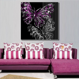 Wholesale Cheap Canvas Pictures - purple butterfly picture ink painting for living room canvas wall art wall decor painting cheap home decor print art