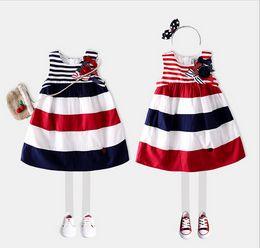 Wholesale Navy Stripe Dresses Girl - 2017 Spring Summer New cotton British children girls dress Wide red navy wide stripe Sundress kids dress B4512